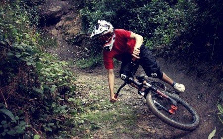 Trail bike in action.