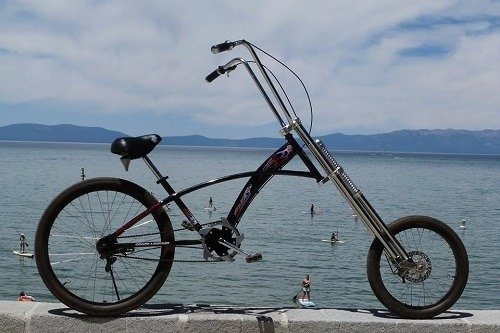 Black chopper cruiser bike