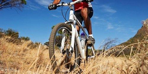 White mountain bike on a trail