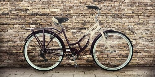Schwinn cruiser bike by the brick wall