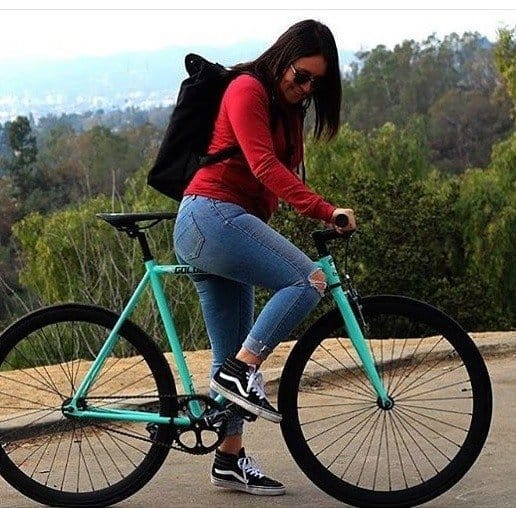 Girl ON Golden Cycles Fixed Gear Bike