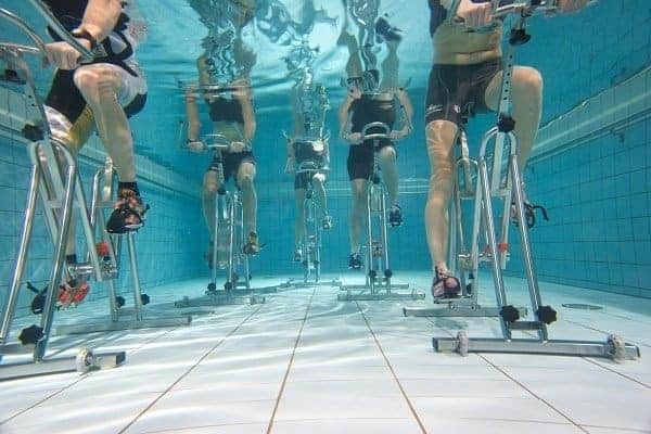 Under Water Cycling Burns Calories