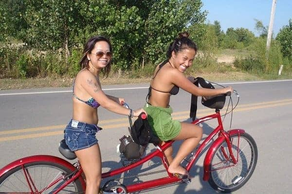 Riding on tandem bike