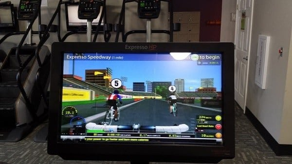 Interactive game on excercise bike