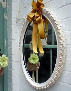 Mirror made out of an old bike tire.