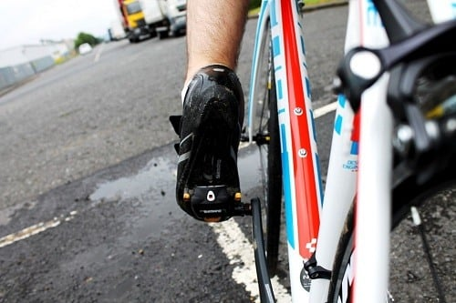 Clipless pedals in use.