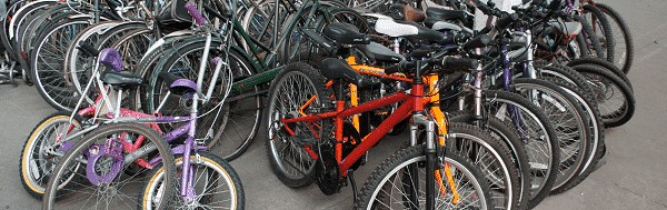 A pile of donated bikes.