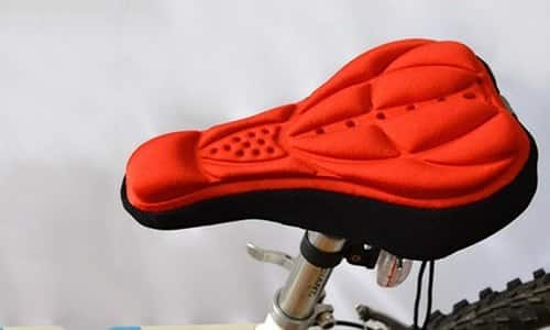 Red gel-padded bike seat.