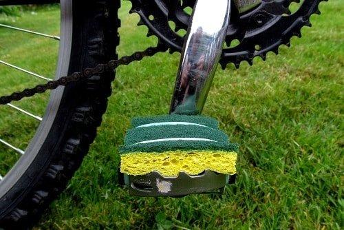Sponge on a bike pedal.