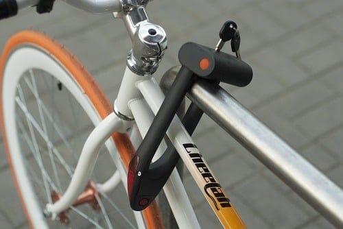 Lock on a bike.