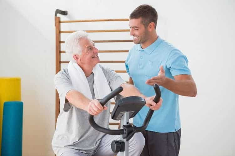 Senior on an excercise bike