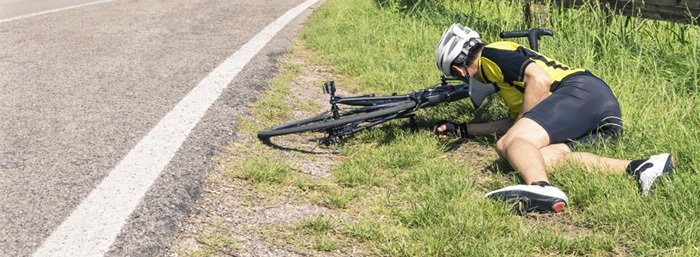 Accident on a road bike
