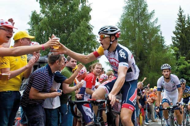 Cyclist Drinking Beer