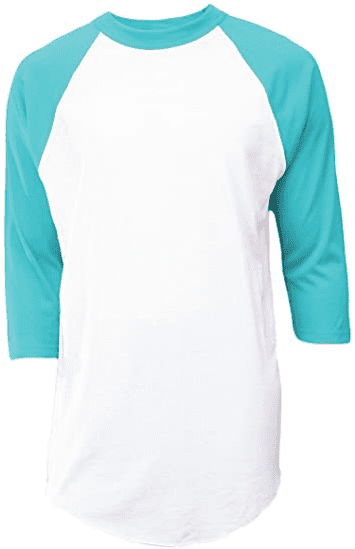 Baseball Jersey T-Shirt, White Teal, X-Large Clothing, Shoes Jewelry