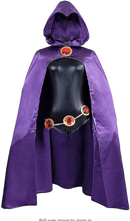 WOMEN'S RAVEN PURPLE CLOAK BLACK JUMPSUIT COSPLAY COSTUME